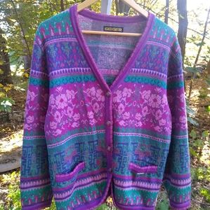 Vintage Geiger Wool Tyrol Floral Colorful Cardigan Sweater